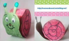 l'escargot réalisé avec un rouleau de papier wc et des bouchons, explications sur mon blog