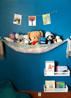 DIY Stuffed Animal Storage – A Stuffed Animal Sling Make your own plush toy ne. - - DIY Stuffed Animal Storage – A Stuffed Animal Sling Make your own plush toy net with a scarf, two rings (like shower curtain rings) and two command or Organizing Stuffed Animals, Storing Stuffed Animals, Homemade Stuffed Animals, Stuffed Animal Storage, Stuffed Toy, Diy Plush Toys, Stuffed Animal Hammock, Toy Net, Toy Hammock