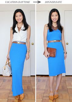 long maxi skirt for day. tube dress for night. she gives good advice for petites too.