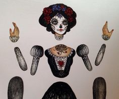 Jointed Day of the Dead Calavera Catrina Paper by cynthiathornton