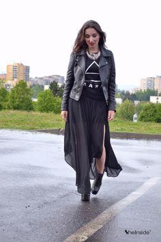 Black Soft PU Slim Jacket -love that she has a 30stm shirt on!