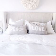 I'm so excited. We had Christmas today since we're traveling this year and I'm so happy about these peace love pillows shams my mom gave me from by sswansondesign Home Bedroom, Master Bedroom, Bedroom Decor, Bedroom Ideas, Bedrooms, Pillow Shams, Bed Pillows, Crosses Decor, Stay In Bed