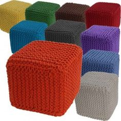 Strick Sitzhocker 100% Baumwolle #homescapes