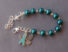Ovarian Cancer Awareness - 8mm Teal Glass One Decade Rosary Bracelet by JaysReligiousGifts on Etsy