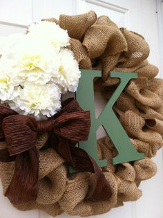 Burlap Wreath with Flowers, Bow, and Initial - Personalized Burlap Wreath - Burlap Wreath - only $50.00!