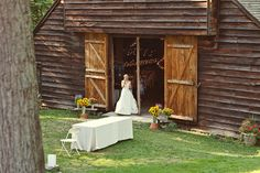 Mt. Guilan wedding -- I like the outdoor wildflowers beside the barn