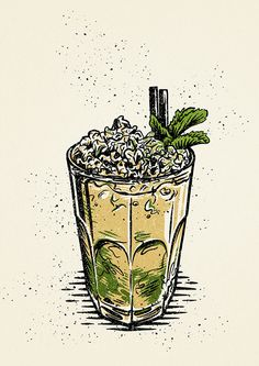 A series of cocktail illustrations Tattoo Bar, Bar Pics, Cocktail Illustration, Food Sketch, Tobias, Sketchbook Project, Comic Panels, Food Illustrations, Character Illustration