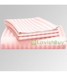 Pink Stripe 1000-TC Egyptian Cotton Bedding Fitted Sheet