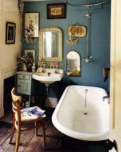 Awesome 36 Bright Bohemian Bathroom Design Ideas : 36 Bright Bohemian Bathroom Design With White Blue Bathtub Wash Basin Mirror Table Chair Towel Shower Photo Frame Decor Hardwood Floor Vintage Bathrooms, Modern Bathroom, Small Bathroom, Eclectic Bathroom, Cozy Bathroom, Bathroom Wall, Quirky Bathroom, Bathroom Interior, Washroom