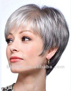 grey human hair short bob style lace wig