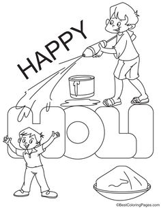 Holi is an ancient Hindu festival that people use a pichkari to cover others with colored water. Here are some free printable Holi coloring pages in vector format. Printable Coloring Pages, Coloring Pages For Kids, Holi Drawing, Diwali Painting, Realistic Bird Tattoo, Holi Party, Holi Images, Holi Colors, Holi Celebration