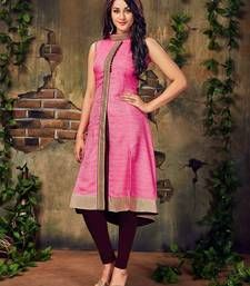 Buy Pink plain art silk party-wear-kurtis party-wear-kurti online