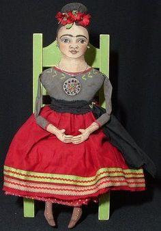 Dylan & Jo - Cart Before the Horse frida kahlo textile art doll