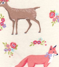 Snuggle Flannel Fabric-Sweet Forest Creatures