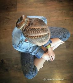 Lace 4 and 5 strand braids into a ballerina bun. Love this hairstyle! Lace 4 and 5 strand braids into a ballerina bun. Love this hairstyle! Dance Hairstyles, Little Girl Hairstyles, Pretty Hairstyles, Braided Hairstyles, Gymnastics Hairstyles, Updo Hairstyle, Wedding Hairstyles, Braided Updo, Gymnastics Meet Hair