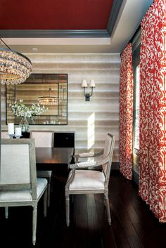 One day; a red ceiling and red patterned curtains. Homes & Design: Building Character