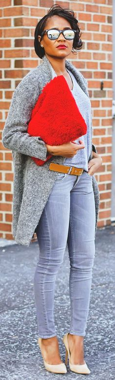 Red Wide Shearling Clutch