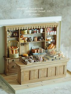 Miniature setting of a bakery, with handmade items.