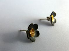 Oxidized sterling silver flower stud earrings with yellow caviar beads