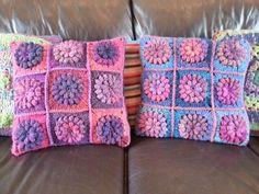 Popcorn square cushions with wool tweed backs