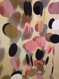 Items similar to Pink/ Black/ Gold Paper garland for wedding, baby shower, bridal shower, birthday or any occasion. on Etsy Bridal Shower Backdrop, Bridal Shower Decorations, Wedding Centerpieces, 40th Birthday Parties, Girl Birthday, Birthday Table, Birthday Ideas, Ideas Decoracion Cumpleaños, Purple Color Schemes