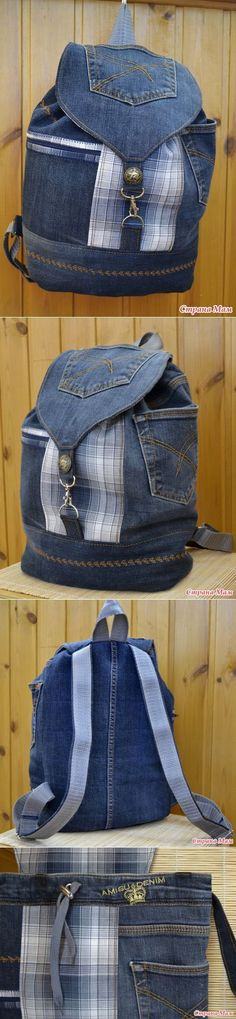 upcycled old jeans and looks like maybe a shirt fabric too. Love the denim with the blue plaid. Denim Backpack, Denim Bag, Mochila Jeans, Sacs Tote Bags, Jean Purses, Denim Ideas, Denim Crafts, Old Jeans, Recycled Denim