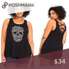 New 2X or 3X Torrid Fitted Foxy Skull Punk//Gothic Tattoo V-neck Cami Tank Top