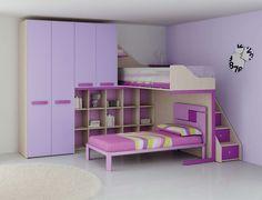 Chambre enfant PERSONNALISABLE LH27 lits superposés en mezzanine - MORETTI COMPACT
