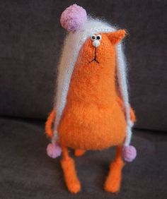 Crochet Cat Toys, Knitted Cat, Knitted Animals, Needle Felted Animals, Crochet Crafts, Felt Crafts, Needle Felting, Crochet Baby, Knitting Projects