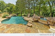 Wading Pools are in for pool design. This natural stone pool deck and coping looks fantastic!