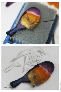 Валяем брошь «Птица – сентябринка» - Ярмарка Мастеров - ручная работа, handmade