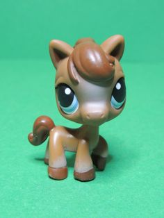 #337 brown horse pony cheval blue eyes LPS Littlest Pet Shop Figure Figurine
