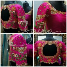Bridal Blouse Design Collection for Wedding - Fashion Saree Blouse Patterns, Fancy Blouse Designs, Designer Blouse Patterns, Bridal Blouse Designs, Maggam Work Designs, Blouse Models, Work Blouse, Maggam Works, Hand Embroidery