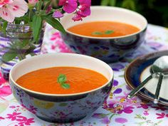 Home-made roast pepper and tomato soup is nice and spicy