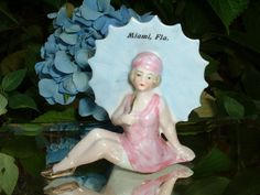 VINTAGE Miami Florida German Pink Bathing Beauty Pin Up Girl Figurine Porcelain