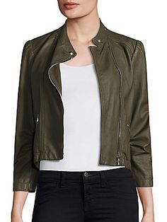 a0b4c688d5 Rebecca Taylor Garment Washed Leather Moto Jacket Rebecca Taylor