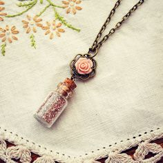 Tiny Bottle Necklace with Pink German Glass Glitter and Rose by Dear Delilah