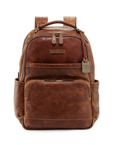 Logan Men\'s Pull-Up Leather Backpack, Cognac  by Frye at Neiman Marcus.