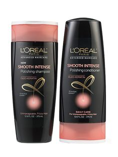 Hair (shampoo and conditioner—frizzy hair): L'Oréal Paris Advanced Haircare Smooth Intense Polishing Shampoo and Conditioner deliver exceptional smoothness while preserving volume
