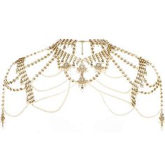 gold tone pearl and crystal cape - necklaces / collars - jewellery - women - River Island