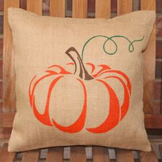 Hand Painted Pumpkin on Burlap Pillow Cover by HavenByLaura