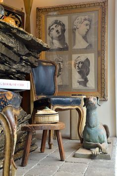 NYC #Mecox window display with #dog #statue and framed #Greek busts #interiordesign #NewYork #MecoxGardens #furniture #shopping #home #decor #design #room #designidea #vintage #antiques #garden