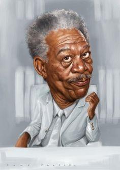 Morgan Freeman he an Fantastic Actor. Funny Caricatures, Celebrity Caricatures, Celebrity Drawings, Cartoon Faces, Funny Faces, Cartoon Art, Caricature Artist, Caricature Drawing, Harold Lloyd