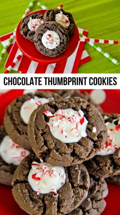 Chocolate Thumbprint Cookies With A Peppermint Bark Center.  Easy and delicious.
