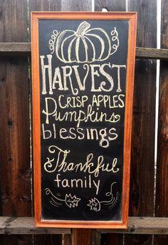 Harvest Chalkboard by TheGingerPearl on Etsy