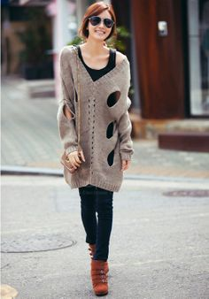 fashion+for+plus+size+women+over+40 | ... Street Style Holes Batwing Long Sleeved Plus Size Sweater For Women