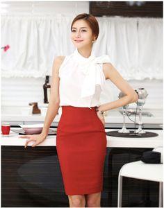 Elegant Womens Fitted Business Knee Long Slimming High Waist Pencil OL Skirt US $8.65