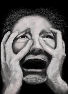 Anguish by Kenny J drawing) Facial Expressions, Interesting Faces, Drawing Tips, Cartoon Drawings, Natural Makeup, Halloween Face Makeup, Fantasy, Artist, Scream