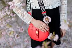 Outfit: Cherry Blossoms | www.moodforstyle.de | Fashion, Food, Beauty & Lifestyle Blog from Germany  | coccinelle carousel bag, morgan lace blouse, zara skirt and sling ballerinas