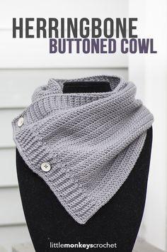 Herringbone Buttoned Cowl Crochet Pattern   Free button cowl crochet pattern by…